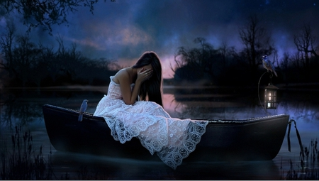 Broken Heart - birds, lake, lantern, boat, woman, fog, night, blue, nature, sadness, beauty, beautiful, fantasy, girl, sad, art, emotional