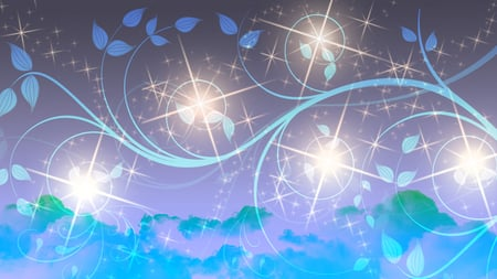 Stars - blue clouds, glow, vines, purple sky, green clouds, blue vines, stars, leaves, sky, beautiful, sparkle