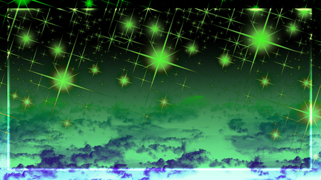 green lights - space, glowing, border, sky, dark, purple, green stars, clouds, green, sparkle