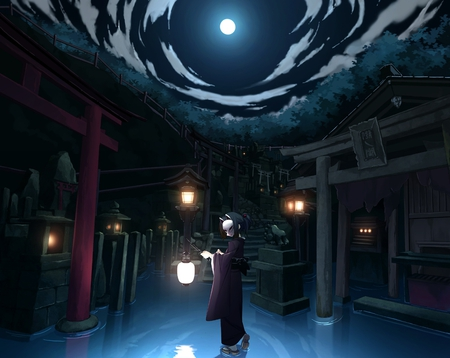 Under the moonlight - original, sky, kimono, clouds, moon, water, girl, japanese clothes, anime, temple, anime girl, mask