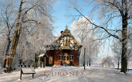 Fachwerk style villa in Curonia - architecture, world, kurische, curonia, beautiful, magic, neringa, villa, spit, sand, dunes, cultural, heritage, fabulously, list, nehrung, legend, beauty, frost, harmony, unesco, kopos, curonian, unique, trees, winter, fachwerk, snow, landscape, style