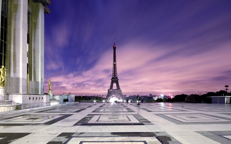 Eiffel Tower - tower, sky, nature, eiffel, architecture, monuments, beautiful, france, eiffel tower, clouds, buildings, paris
