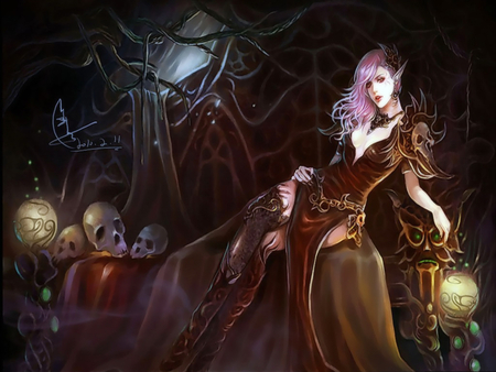 Gothic Elves - witch, dress, dark elf, sweet, fantasy, gothic, thigh boots, hot, beauty, necklace, elf, sexy, jewelry, cool, dark, gothic elves, sitting, pink hair, skull, princess