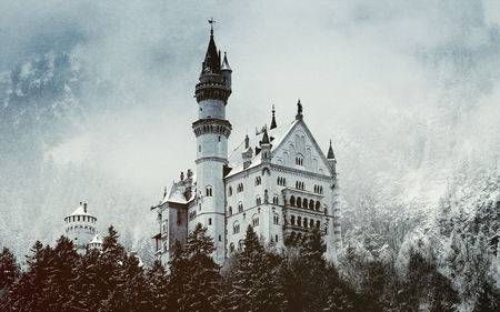 white castle in winter - architecture, photography, nature, clouds, castle, sky, manmade, winter