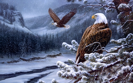 Winter Eagles - forest, art, eagle, beautiful, winter, bird, snow, snowflakes, nature, river, blue