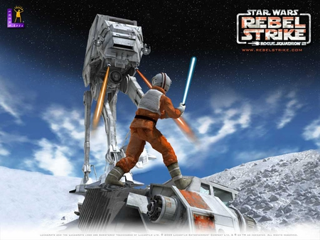 star wars rouge squadron - stars, firing, at at, snow, snow speeder, jedi, clouds, light sabre