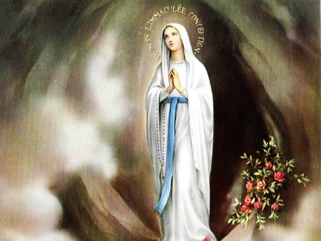 THE VISITATIONS OF THE MOTHER OF GOD TO SAINT BERNADETTE AT LOURDES IN FRANCE - mother of god, blessed virgin mary, our lady of lourdes, our lady