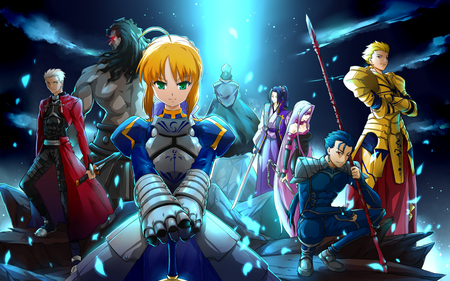 Fate/Zero Warrior - saber, fate zero warrior, fighter, berserker, sweet, fate stay night, group, rider, anime, spear, hot, archer, sword, caster, team, night, lancer, female, male, smile, sexy, armor, cool, warrior, gilgamesh, knight