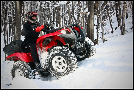 ATV in Action - in action, atv, beautiful, winter, picture
