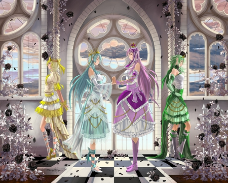 vocaloid - dress, hatsune miku, hawai, boots, black rose, megurine luka, anime, checkered floor, girls, eyes closed, long hair, blue eyes, signed, vocaloid, multiple girls, kagamine rin, window, purple hair, hair ribbon, gumi, blonde hair, 4girls, short hair, blue hair, holding hands, standing, crown, flower, petals, green hair, shoes