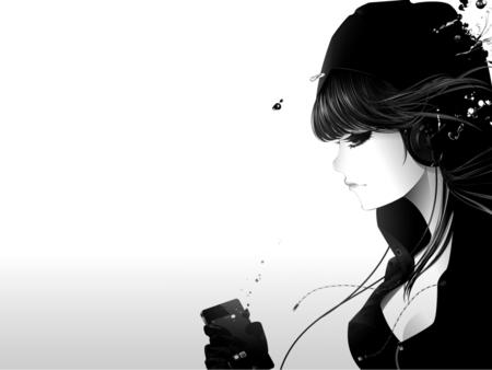 Emo anime girl with headphones