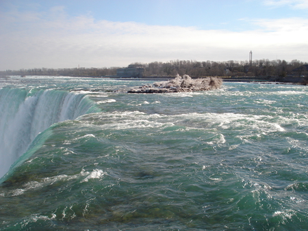Niagara Falls, Ontario Canada 01  - niagara falls, blue, waterfalls, photography, white, sky, water, trees, nature, clouds, green