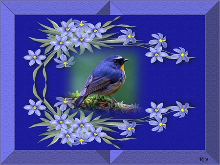 FEELING BLUE - framed, purple, blue bird, floral surroundings