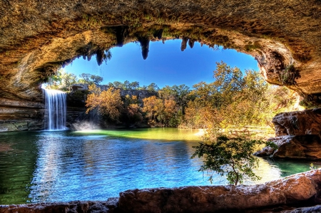 Lake Hamilton Pool - view, beautiful, photoghraphy, unique, trees, lake, texas, water, nature, particularly, hamilton, natural
