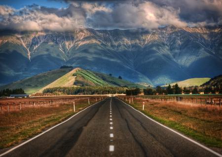 The long road in New Zealand - distance, blue sky line, look forward, way you go, mountain, new zealand, destiny, road to mountain, look ahead, road
