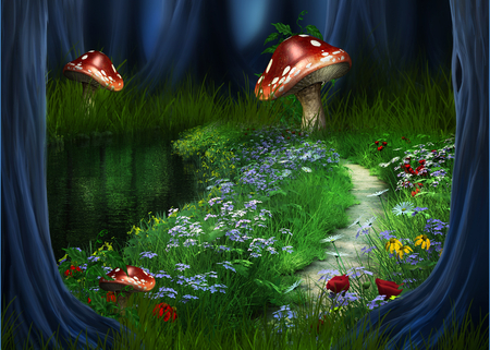 Forest path fantasy abstract background wallpapers on - Mushroom 3d wallpaper free download ...