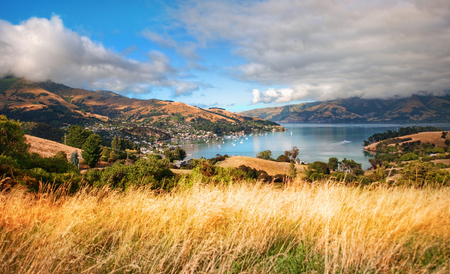 Akaroa - breathtaking  view, breathtaking  landscape, breathtaking, lake, new zealand, akaroa, mountains, grass land, landscape