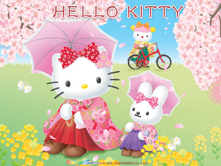 Hello Kitty - hello kitty, japanese, sanrio, meadow, cherry blossom trees