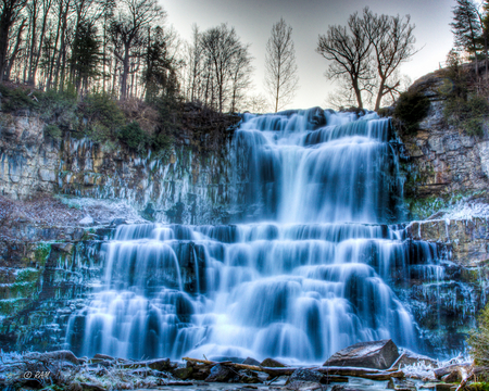 blue falls - water, nature, trees, blue, falls