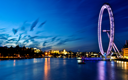 London Eye - londeon, eye, beautiful, clouds, lights, city, boats, boat, splendor, thames river, ferris wheel, beauty, river, evening, reflection, blue, london eye, lovely, view, lights buildings, england, buildings, colors, sky, lake, building, water, london, peaceful, nature, blue sky