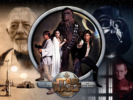 star wars collage - tantooie, death star, darth vader, luke, han solo, obi wan, tarkin, leia