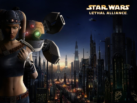 attack of the clones: lethal assassin - droid, ships, city, buildings, woman, lights