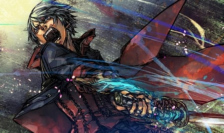 Nero - games, swords, dmc4, white hair, nero, video games, gauntlet, devil may cry, weapons, trench coat, devil may cry 4, cool, anime, screaming, blue eyes, dmc