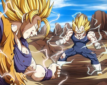Super-Saiyan Goku VS Majin Vegeta - games, goku, dbz, super saiyan, video games, fighters, dragonball z, dragonball kai, gloves, spiky hair, dragonball, anime, son goku, super saiyans, dragonballz, saiyan, electricity, saiyans, blonde hair, vegeta, dragonballz kai, battle, fight, wristbands, torn clothing