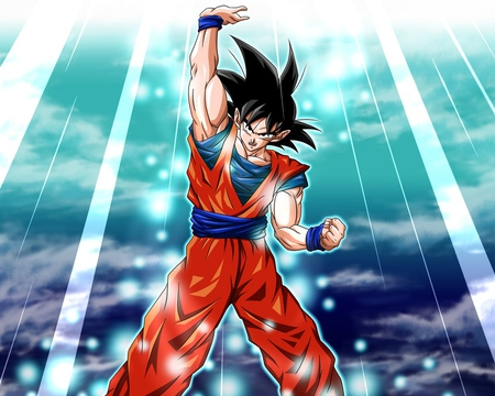 Spirit Bomb - games, goku, dbz, video games, dragonball z, clouds, spiky hair, dragonball, anime, son goku, black hair, male, dragonballz, saiyan, dragonballz kai, lone, waistband, black eyes, wristbands