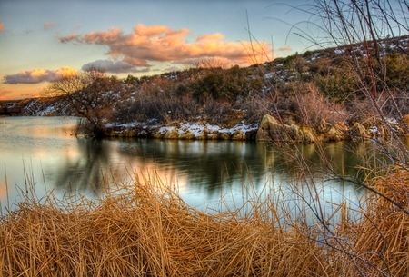 Early winter - image, early, background, beautiful, sky, clouds, lake, picture, winter, water, snow, vegetation, nature, reflection