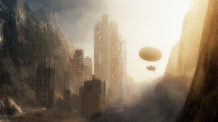 Exploring Lost Cities - desert, foggy, ancient, airship, sunset, old, dusty, gold, scifi, sunrise