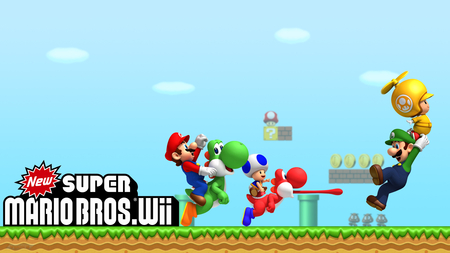 New Super Mario Bros. Wii HD wallpaper - mario, new super mario bros, nintendo, luigi, yoshi, toad, wii