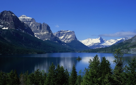 Mountains and Lake - forest, water, snow, mountains, nature, trees, sky, lake