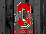 RED BLOCK O OHIO STATE ON GRAY BARN