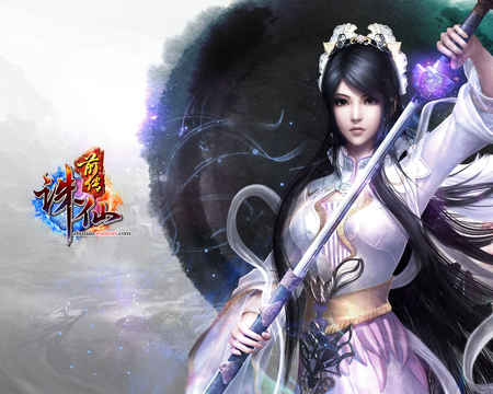 Jade Dynasty - video game, power, beautiful, fantasy, jade, anime, weapon, long hair, sword, dynasty