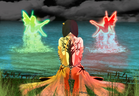 Pondrance - braids, wings, shading, grass, open back, tree, fairys, waves, red, glow, dress, black sky, orange, back, reeds, on knees, yello, water, chains, red glow, reflection, tattoo, fantasy, yellow glow, splash, blue glow, clouds, field, green, shore