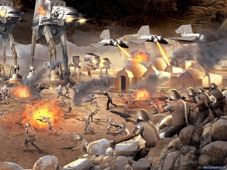 the empire vs the rebellion - ships, stars, at ats, firing, jedi, light saber, explosions, rebels, fires, at sts, weapons, mountains, troopers