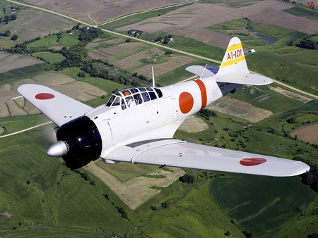 A6M Mitsubishi Zero - world, mitsubishi, war, japanese, ww2, a6m, airplane, plane, antique, zero, wwii, classic