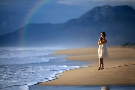 Holding you in thoughts - thoughts about you, colorful, rock, dreams, rainbow, sea, sweet, beach, mountain, sand, tenderness, dreamer, love, thoughts, sunny day, feeling, dreamer girl, ocean, colors, sky, hold, hug, i miss you, water, girl, sunshine, white dress