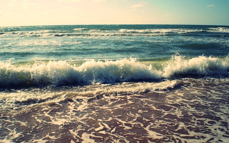 Waves - beach, landscapes, ocean, nature, scenery, coast, sea