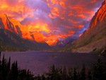 Fiery sunrise over the lake