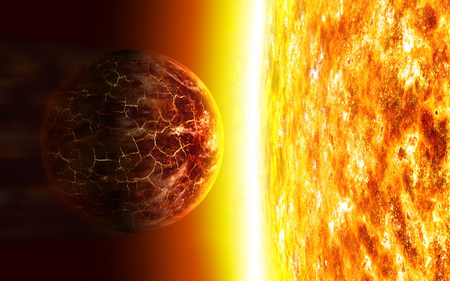 Planet - sun, planet, space, orbiting, heat, star