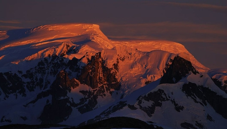 SunGlow - antartica, snow, red sun, mountains