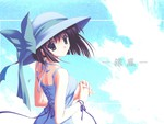 Cute Anime Girl in Summer with Big Hat