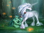 Unicorn in dark forest