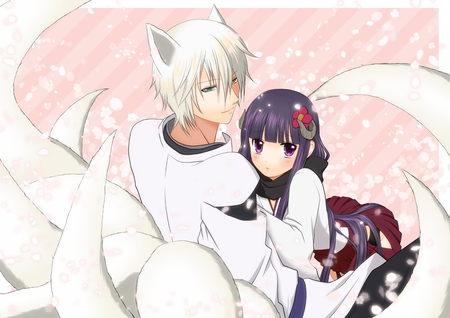 Inu X Boku - inu x boku, animal ears, tail, white hair, black hair