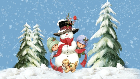 Snow Fun with Kids - christmas, children, trees, snowman, winter, cute, whimsical, snowing, snow, puppy, kids, dog