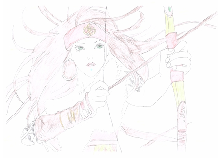 Archer - brown, band, bow, woman, arrow, scan, hair, cool, warrior, girl, anime, drawing, portrait, archer, ring, other