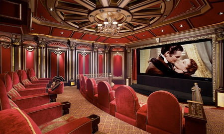 Home Theatre - architecture, house, home, beautiful, carpet, theater, private, chairs, screen, theatre, wood