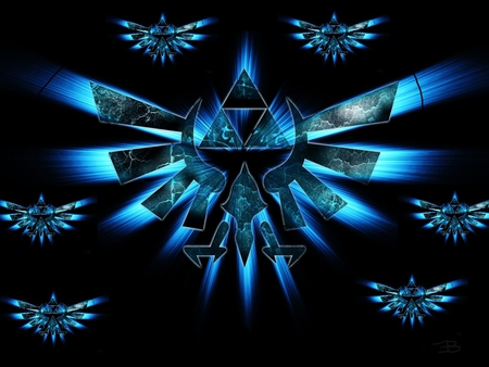 Epic blue triforces - link, triforce, blue, zelda